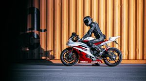 Preview wallpaper yamaha, motorcycle, bike, red, motorcyclist
