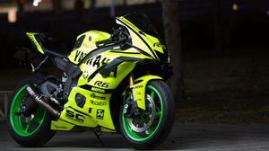 Preview wallpaper yamaha, motorcycle, bike, green, moto