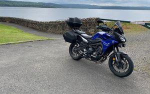 Preview wallpaper yamaha, motorcycle, bike, blue, coast