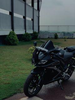 240x320 Wallpaper yamaha r15, yamaha, motorcycle, bike, black