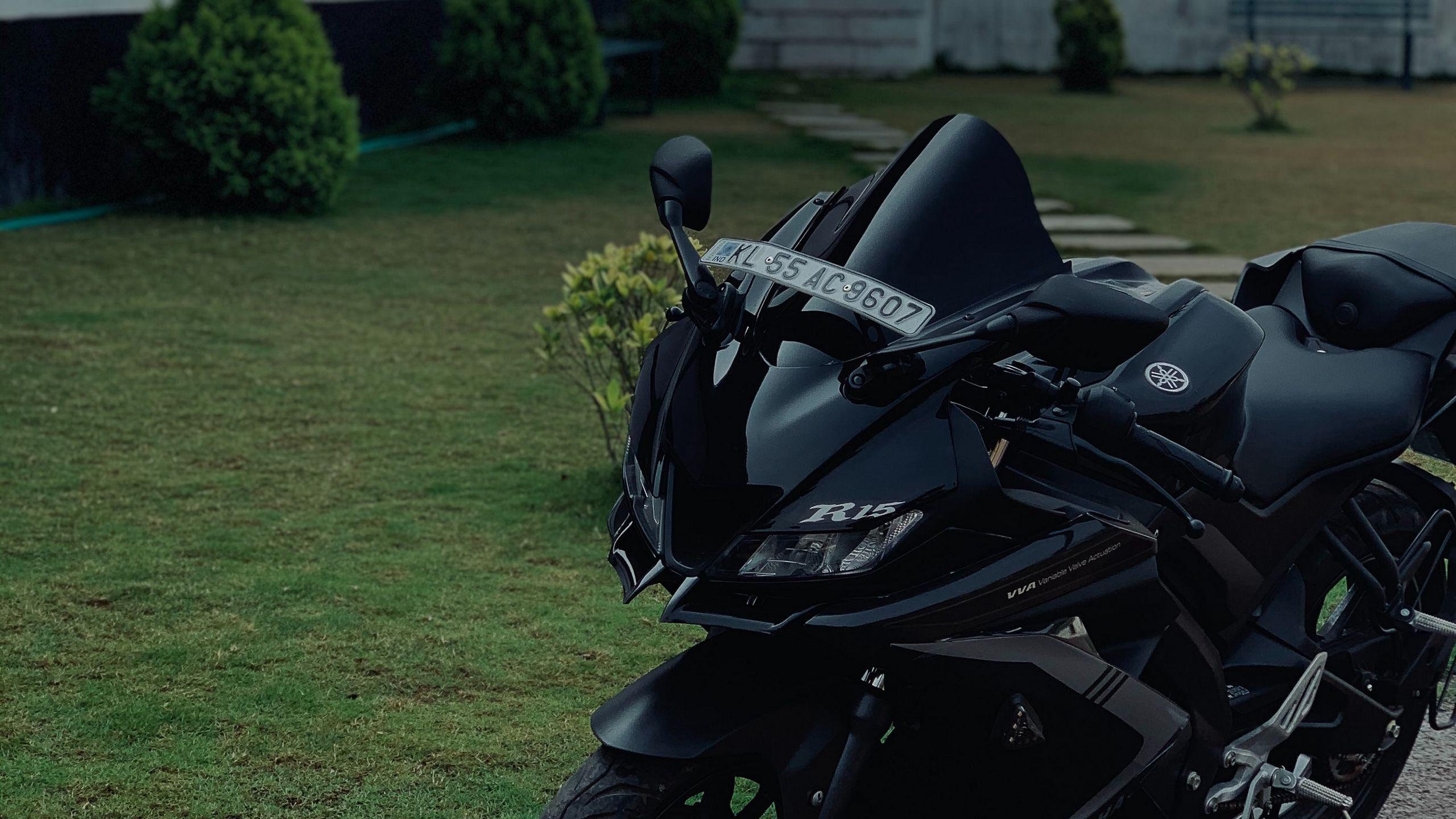 2560x1440 Wallpaper yamaha r15, yamaha, motorcycle, bike, black