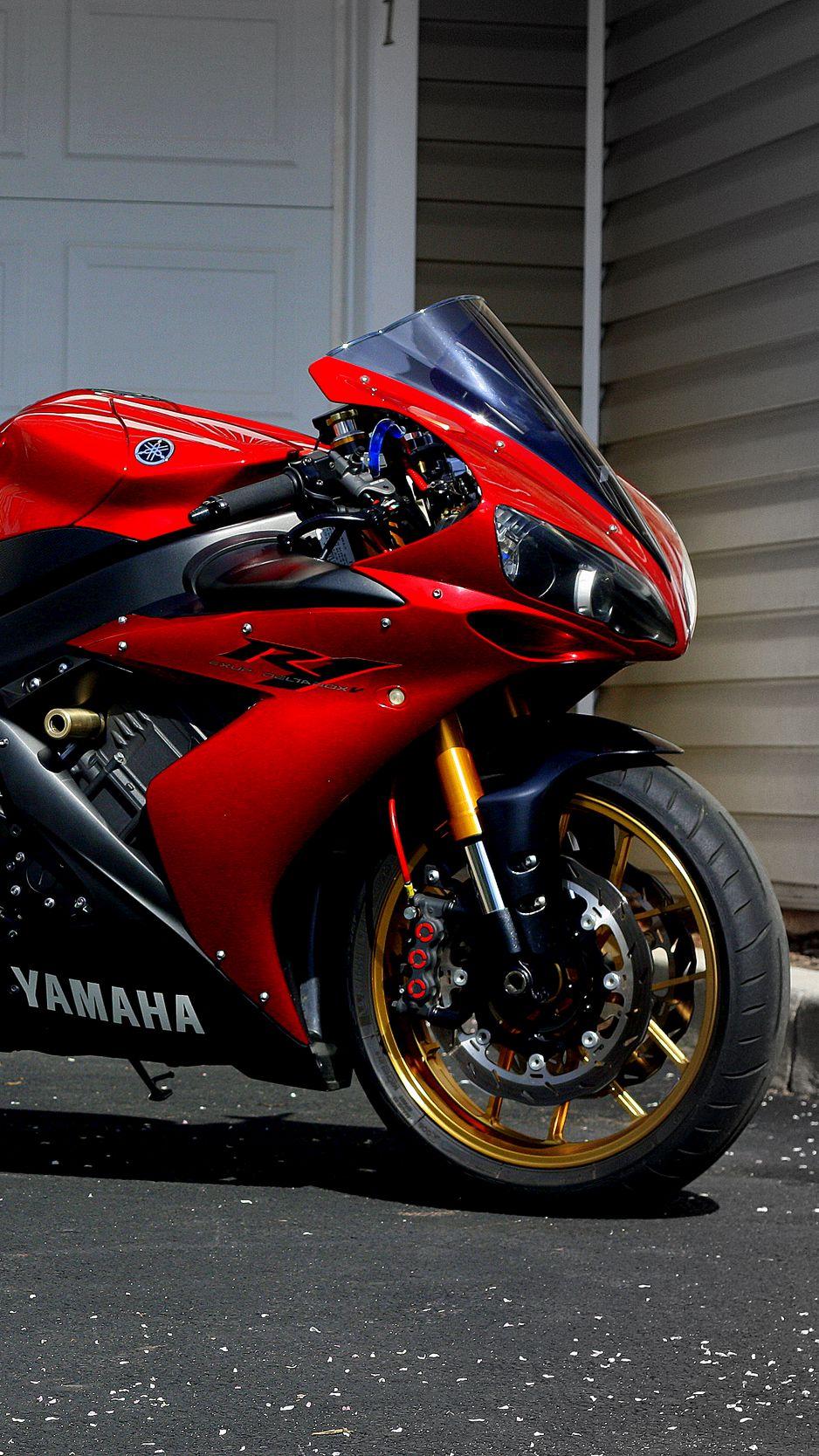 938x1668 Wallpaper yamaha, r1, red, sportbike