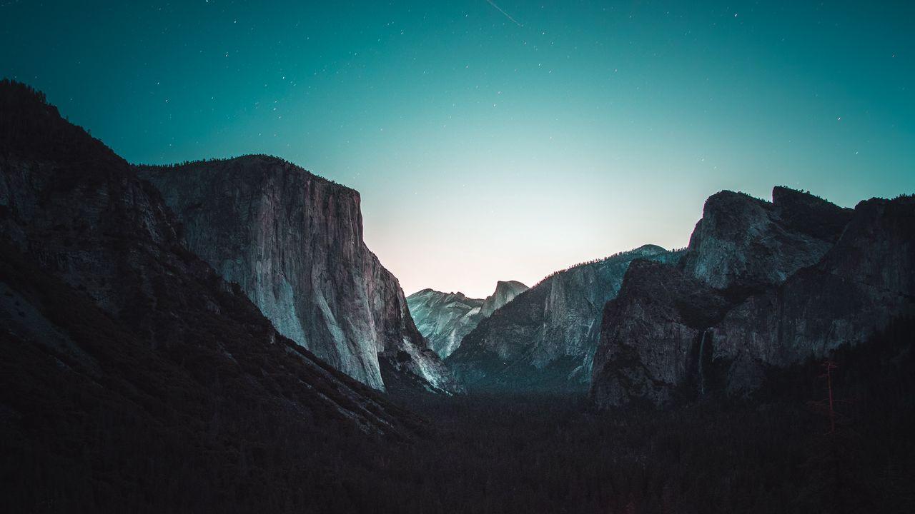 Wallpaper yosemite valley, mountains, night, stars