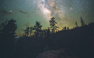 Preview wallpaper yosemite valley, starry sky, milky way, stars, night, trees, united states