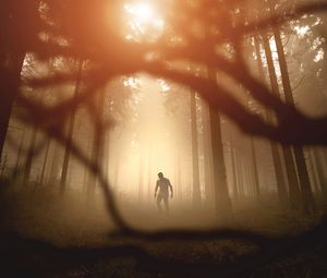Preview wallpaper zombie, silhouette, forest, trees, apocalypse, twilight