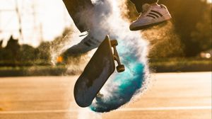 Preview wallpaper skate, skateboard, cloud, jump, trick