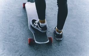Preview wallpaper skate, skateboard, legs, sneakers, ride