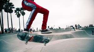Preview wallpaper skate, skater, jump, trick, skate park, venice, los angeles, trendy