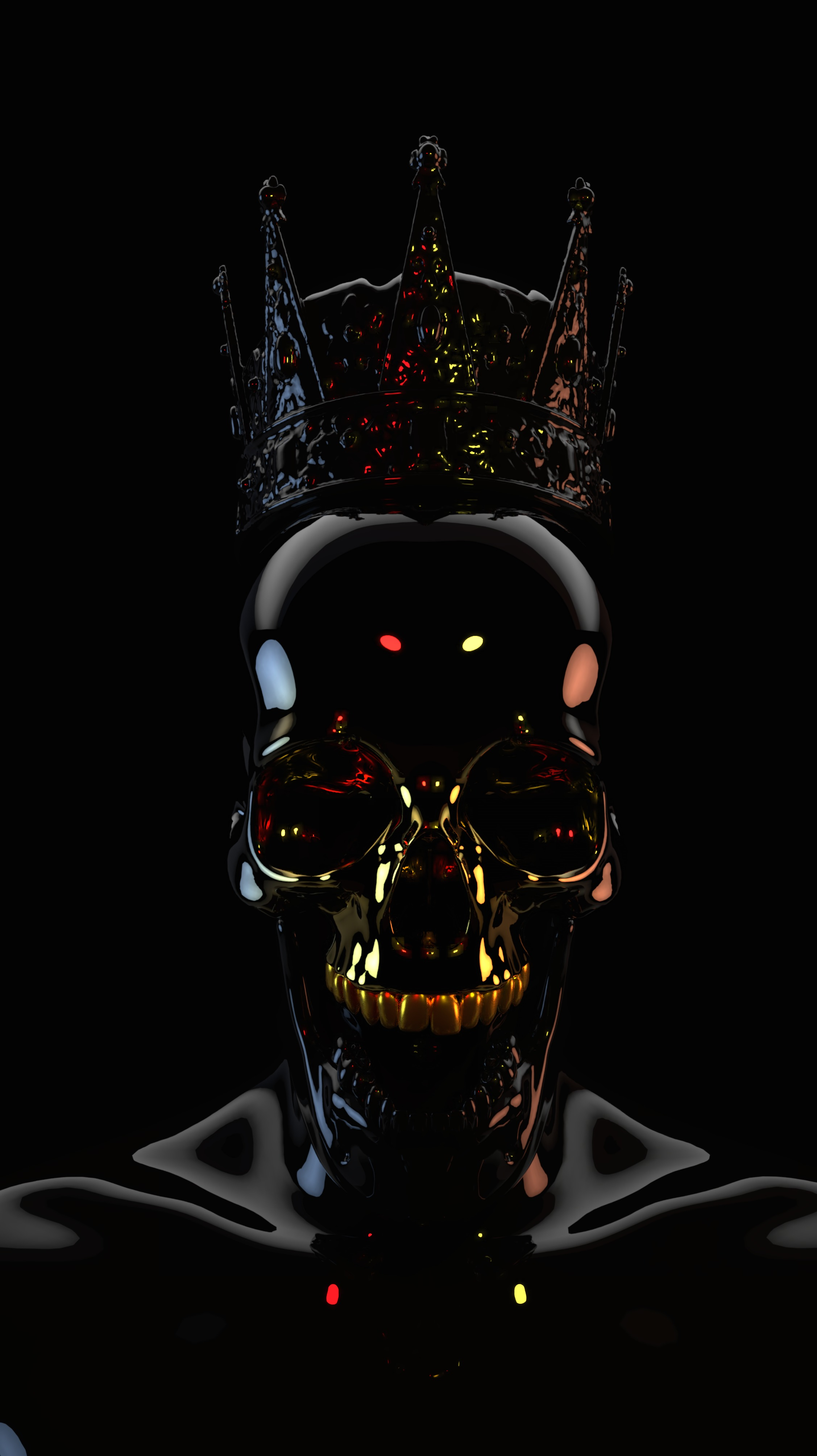 Download Wallpaper 2254x4016 Skull Black Dark Crown 3d