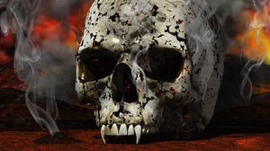 Preview wallpaper skull, black, white, red, smoke