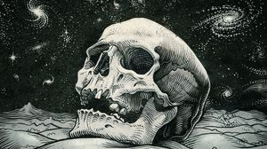 Preview wallpaper skull, bw, artwork