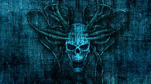 Preview wallpaper skull, horns, scratches, art