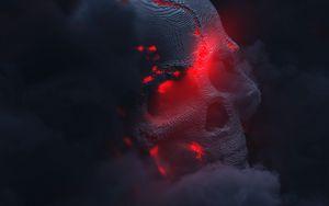 Preview wallpaper skull, smoke, cloud, glow, 3d, dark