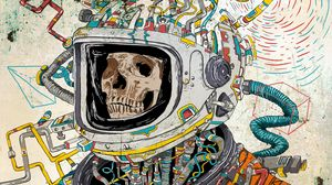 Preview wallpaper skull, space suit, art, astronaut, surreal