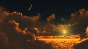 Preview wallpaper sky, clouds, height, moon, luminescence