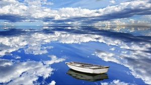 Preview wallpaper sky, clouds, reflection, boat