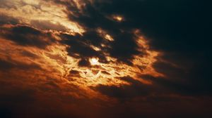 Preview wallpaper sky, clouds, sun, hide, sunset