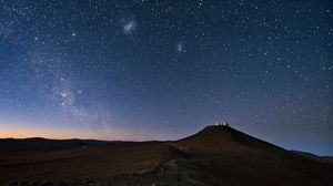 Preview wallpaper sky, constellations, night, desert, mountain, sand