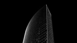 Preview wallpaper skyscraper, building, black and white, minimalism, architecture, facade