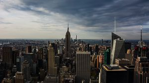 Preview wallpaper skyscrapers, aerial view, architecture, buildings, manhattan, new york, usa