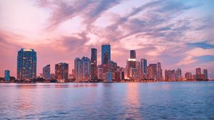 Preview wallpaper skyscrapers, panorama, city lights, city