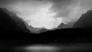 Preview wallpaper slope, relief, fog, bw