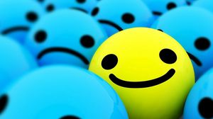 Preview wallpaper smile, blue, yellow, bright