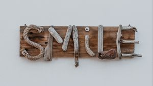 Preview wallpaper smile, inscription, wooden, creative
