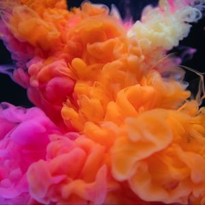 Preview wallpaper smoke, bunches, colored smoke, orange, pink