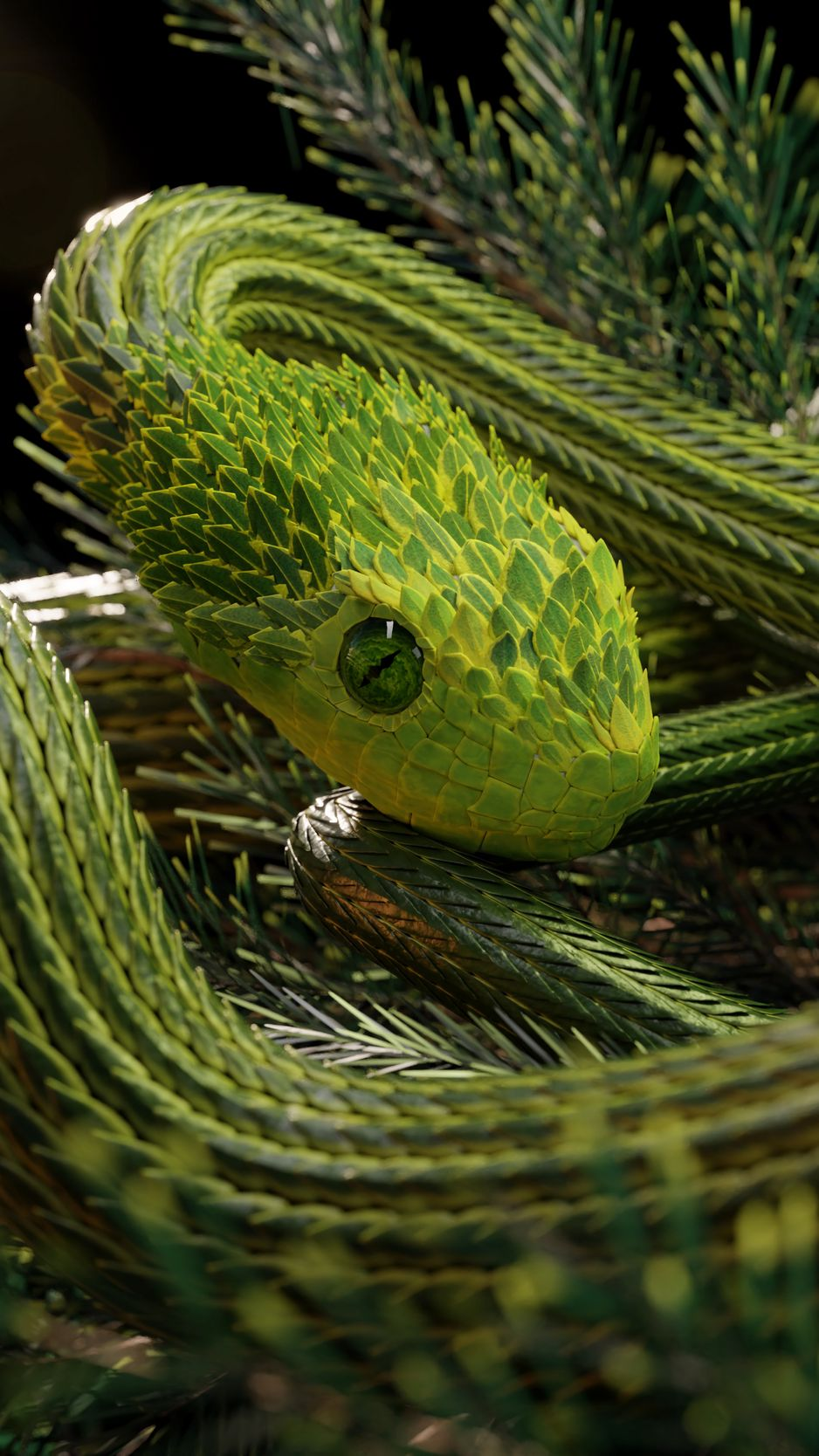 938x1668 Wallpaper snake, green, reptile, scales, 3d