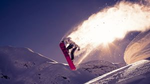 Preview wallpaper snowboarding, trick, jump, snow