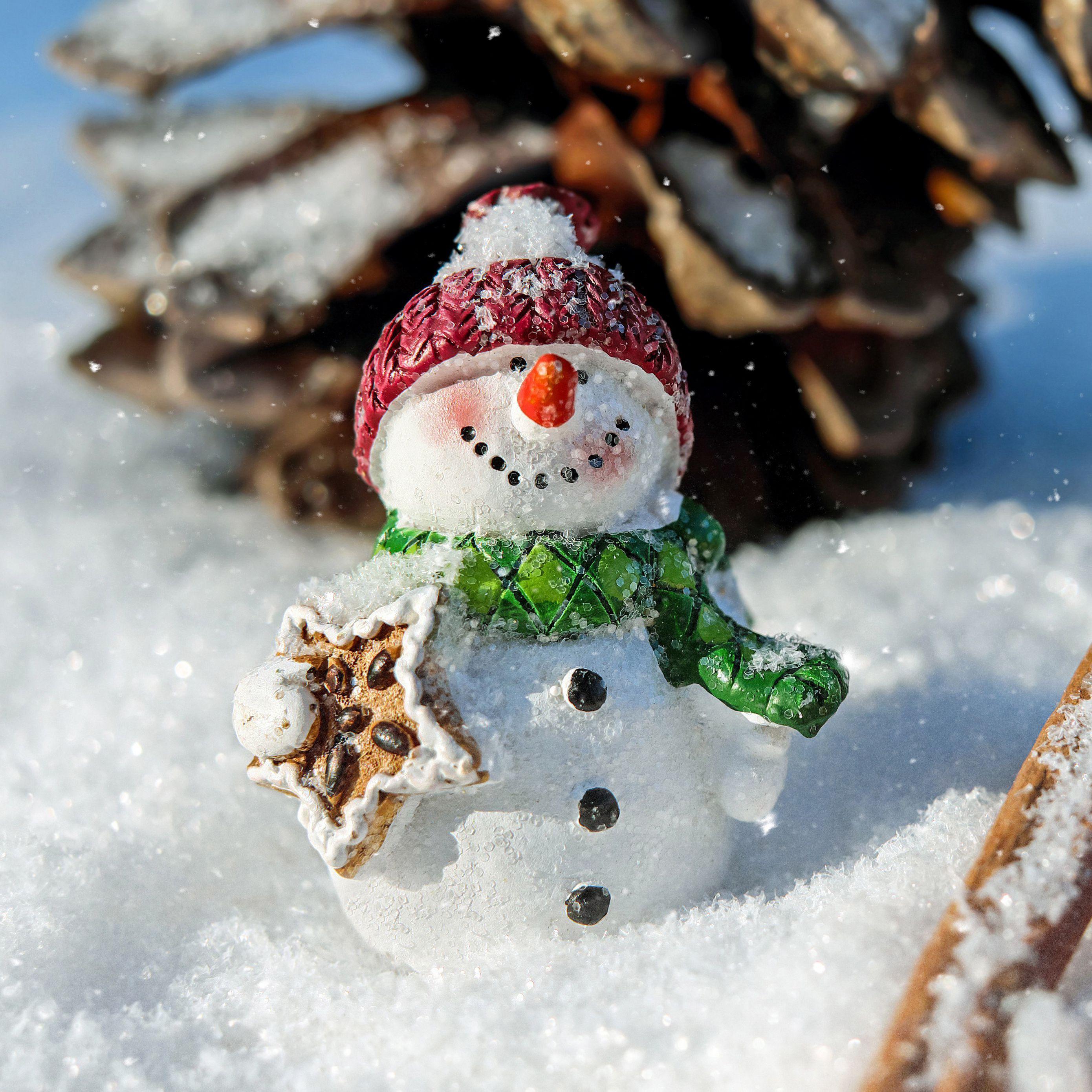 2780x2780 Wallpaper snowman, snow, cinnamon, pine cone, christmas, new year
