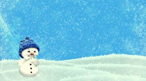 Preview wallpaper snowman, winter, christmas, new year, cute, illustration