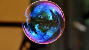 Preview wallpaper soap bubble, colorful, bowl, reflection