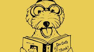 Preview wallpaper dog, book, funny, art, vector