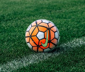 Preview wallpaper soccer ball, football, lawn, grass