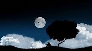Preview wallpaper solitude, tree, night, clearing, sky, dark