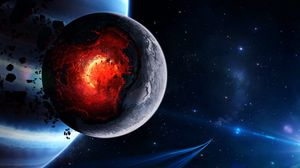 Preview wallpaper space, cataclysm, planet, art, explosion, asteroids, comets, fragments