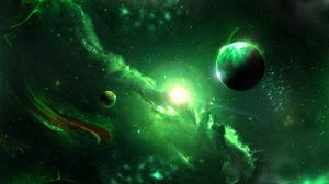 Preview wallpaper space, galaxy, planets, green, universe