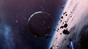 Preview wallpaper space, planet, fragments, stars, universe, galaxy