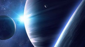 Preview wallpaper space, planets, satellite, universe, shine, stars