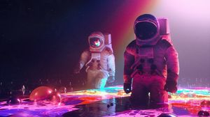 Preview wallpaper space suit, cosmonauts, astronaut, outer space, art