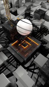 Preview wallpaper sphere, cubes, tangled, volumetric, 3d
