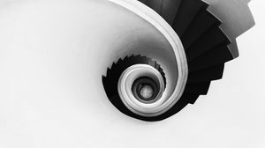 Preview wallpaper spiral, stairs, bw, minimalism