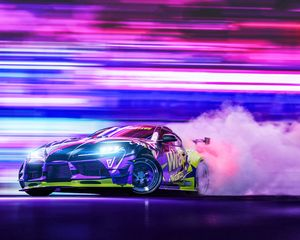 Preview wallpaper sportscar, drift, neon, smoke, speed