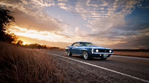 Preview wallpaper ss, classic, american, camaro, chevrolet, 1969, blue