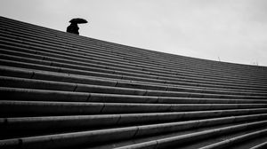 Preview wallpaper staircase, bw, umbrella, loneliness