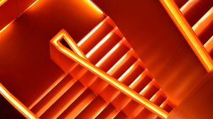 Preview wallpaper stairs, neon, backlight, glow, architecture