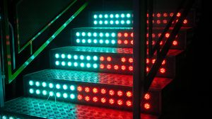 Preview wallpaper stairs, steps, backlight, neon, light bulbs, blue, red