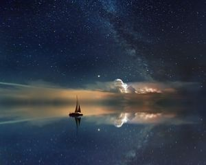Preview wallpaper starry sky, boat, reflection, sail, night